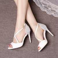 Wholesale Sparkle White Heels - Sparkling 2017 Sumer Sandals Peep Toes Sequined Women Shoes For Wedding High Heel Wedding Shoes With Buckles Cheap Shoes For Party