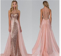 Wholesale Maid Collar - 2018 Chic Rose Gold Sequined Bridesmaid Dresses With Overskirt Train Illusion Back Formal Maid Of Honor Party Evening Gowns prom