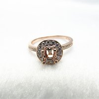 Wholesale Semi Mount Ring 14k - Round 5mm Solid 14K Rose Gold Natural Diamond Engagement Wedding Semi Mount Ring R387