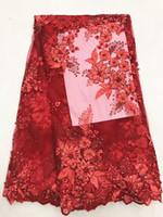 organza rendas tecido francês venda por atacado-5 Y / pc venda Quente bordado vermelho tecido de renda líquida francês com strass e miçangas flor africano malha rendas para o vestido LJ28-7