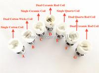 Wholesale Wholesale Glass Rods - Quartz Dual Wax Coil glass globe atomizer Dry Herb Vaporizer Dual Ceramic Rod coils head for E-Cigarette Metal Wax glass globe bulb atomizer
