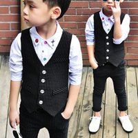 Wholesale Boys Wearing Briefs - Popular Sale Kids Suits Comfy Cotton Outfits Baby Boy Newborn Clothing Striped Vest & Pants Weddings Formal Wear Black VJ0182