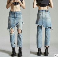 Wholesale High Waist Vintage Jeans Wholesale - Ripped Jeans for Women fashion Loose Blue Jeans Pants Women Hole Vintage High Waist Ripped Jeans Fake 2 Pieces Vaqueros Mujer Female Denims