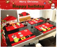 Wholesale Christmas Placemats Wholesale - 45X34cm Christmas Stockings Placemats Knife And Fork Mat Christmas Party Decorations For Home Feliz Navidad Craft Supplies
