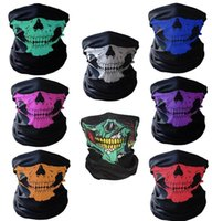 Wholesale Pink Skeleton - Event & Party Halloween Scary Mask Festival Skull Masks Skeleton Motorcycle Bicycle Multi Masks Scarf Half Party Face Mask Cap Neck Ghost