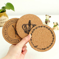 Wholesale Natural Bamboo Coasters - Wholesale- 2PCS 10CM Handy Helpers Round Plain Natural Cork Coasters Drink Wine Mats Crown Tower