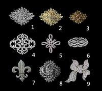 große klare broschen großhandel-Großhandels - Rhodium-Silber / Gold überzogener freier Rhinestone-Kristall Diamante große Blumen-Weinlese-Blumenstrauß-Brosche steckt Art- und Weisezusätze ein