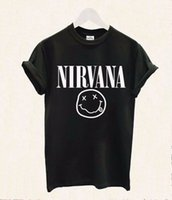 Wholesale Nirvana Smiley Shirt - Wholesale- 2016 Women Tshirt Nirvana Smiley Face Rock Band Print Cotton Casual Funny Shirt For Lady White Black Top Tee Hipster