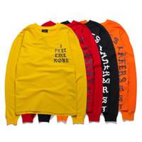 Wholesale Felt Clothing - 2017 Men pullover clothing Kanye West I Feel Like Pablo Season HiP hop hoodie sweatershirts in red,yellow,orange,black 4 color