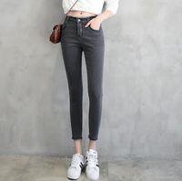 Wholesale cotton linen trousers women - Hot sale Spring new high waist jeans female furry nine points trousers open fork pants female pants JW040 Women's Jeans