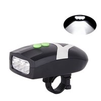 Barato Levou Bicicleta Chifre-3LED Bike Bicycle Light Universal White Front Head Light Ciclismo Lamp + Electronic Bell Horn Hooter Sirena Acessórios impermeáveis