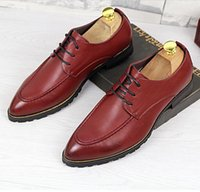 Wholesale Young Office Fashion - British Style Small Pointed Toe Young Man Casual Leather Shoes Fashion Height Increasing Square Heel Business Mens Shoes