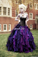 Wholesale Taffeta Dress Ruffle - Purple and Black Organza Taffeta Ball Gown Costume Gothic Wedding Dresses Corset Victorian Halloween Bridal Gowns Vestidos de Novia 2017 New