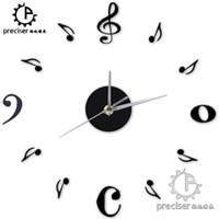 números de reloj de cuarzo al por mayor-Al por mayor- Nota musical Número digital Decoración para el hogar Reloj de pared Acrílico Creativo Cuarzo Reloj de pared DIY Autoadhesivo Etiqueta de la pared Reloj de la vendimia