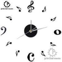 Wholesale wall stickers music notes - Wholesale- Music Note Digital Number Home Decor Wall Clock Acrylic Creative Quartz Wall Clock DIY Self-adhensive Wall Sticker Vintage Clock