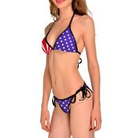 sıcak bikini saçak toptan satış-2017 Sıcak Yeni Yaz Bayan Şınav Yastıklı ABD Bikini BOHO Amerikan Bayrağı Saçak Püskül Bandaj Mayo Mayo Ücretsiz nakliye