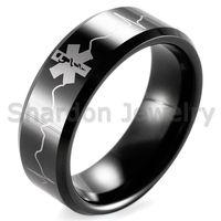 Wholesale invisible life - SHARDON Black Beveled Tungsten Carbide EMT Star of Life & EKG Design Outdoor Wedding Band men firefighter rings