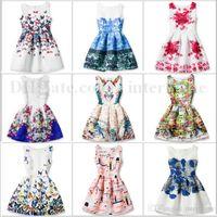 Wholesale Retro Dress Costume - Baby Princess Party Dress Girls Summer Dresses Butterfly Print Dress Girl Flower Costume Retro Slim Sleeveless Dress Kids Baby Clothes B1912