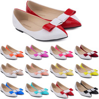 Compra Appartamenti Di Balletto In Pelle 11-Zapatos De Mujer Donne Donne Faux Leather Patent Flats Dolly Ballet Scarpe Bow We Size Scarpe Flat Donne 4-11 D0068