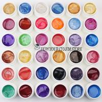 Wholesale Acrylic Pearls Gel - Wholesale- Professional 36PCS Mix Colors Pearls UV Builder Gel Acrylic Nail Art Set for Nail Tips Nail UV gel set