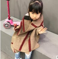 Wholesale Cashmere Outfit - Mother and daughter Outwears Girls plaid Shawl Women cashmere Cloak coats Autumn family warm cape Family Matching Outfits G1260