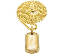 Wholesale Masonic Brands - newest men women hiphop AG Masonic Curved military shield gold plated Masonic dog brand pendant necklace exquisite stainless steel jewelry