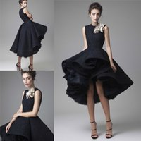 Wholesale Evening Gowns Hi Lo - Latest Krikor Jabotian Prom Dresses Hand Made Flower Jewel Neck Black Knee Length Formal Evening Gowns Party Dresses Prom Gowns