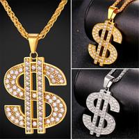 ingrosso grande collana della catena della corda dell'oro-U7 gioielli hip-hop grande strass collana pendente dollaro americano d'avanguardia placcato / catena in acciaio inox corda gioielli accessori perfetti