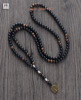 Wholesale Black Bead Rosary - Wholesale-Men Necklace Quality 6MM Black Agate Wood Beads with Tree Pendant Mens Rosary Necklace Wooden Beads Mens jewelry