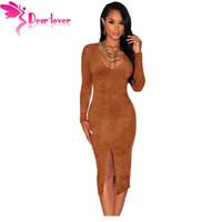 Wholesale Mocha Dresses - Dear-Lover Winter Dresses 2016 Sexy Bodycon V-neck Mocha Faux Suede Long Sleeves Slit Dress Vestidos de Inverno Festa LC60673 17410