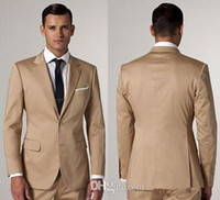 Wholesale Ads Single - 2017 custom made Slim fit champagne 2 piece suit single with Groom Tuxedos Peak Lapel Groomsmen Best Man Suit ( coat + pants )AD