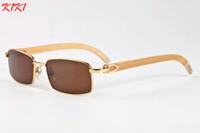 espejo de bambú enmarcado al por mayor-Diseñador 2019 Gafas de sol de madera para mujer Gafas de bambú retro Marco de plata dorado Espejo Gafas de sol para mujer con caja Sombras lunetas