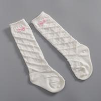 Wholesale Diamond Baby Socks - Japanese style baby girls Bows diamond kintting socks kids High socks children white knee high cotton sockings Autumn Children socks T0474