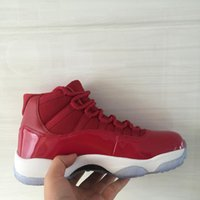 ingrosso scarpe da tennis in pelle verniciata-Nuovo XI 11s Palestra Red Mens scarpe da basket della scarpa da tennis nere vernice rossa donne di cuoio atletico di tennis di formazione con la scatola