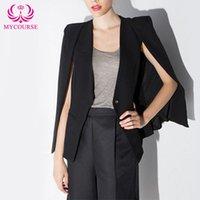 Wholesale Korean Tuxedo Jackets - Modern Womens Cloak style Cardigan Tuxedo Blazer Casual Jacket Suit Cape Coat Korean Long Sleeve Single Button Coat