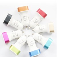 Wholesale Square Usb Color - Wholesale hot 2 USB charger car charger mix color for mobile phone Round square free shipping
