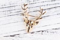 Wholesale Deer Head Brooch - .2 colors Retro Antlers Brooch pin Shirt Suit Collar pin gold Deer Antlers Head brooch animal model pins for men Christmas gift 10