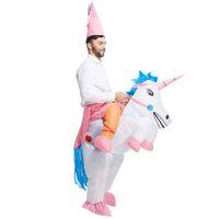 aufblasbare männer frauen großhandel-Erwachsene Aufblasbare Kostüm Weihnachten Cosplay einhorn Tier Overall Halloween Kostüm für Frauen Männer