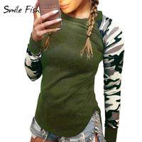 Wholesale Slim Curved Shirt - Wholesale- Camouflage Sleeve Women Hoodies Shirts Thin Sweatshirts Tops Slim Fit Curve Hem Ladies Hoodies Tops Tracksuits Female LX073