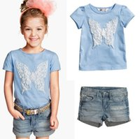Wholesale Tshirts For Girls - baby butterfly denim Blue Tshirts & girls Denim Shorts pants Sets For Children 2 pcs set Kids Summer Outfits Suits