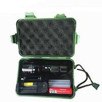 led cree t6 venda por atacado-recarregável T6 L2 LED Flash de luz com pacote de presente CREE XM-L L2 alumínio impermeável Zoomable lanterna de luz LED Torch