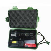 bateria de lanterna ultrafire c8 venda por atacado-recarregável T6 L2 LED Flash de luz com pacote de presente CREE XM-L L2 alumínio impermeável Zoomable lanterna de luz LED Torch