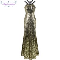 Wholesale Golden Sexy Club Dresses - Angel-fashions Women's Criss Cross Straps Sequin Mermaid Backless Runway Fashion Evening Dress Ball Gown Golden A-344GD
