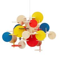 Wholesale lampe e27 - Bau-lampe Modern Creative Designer Parquet Blocks Colorful Wooden Children's Room Chandelier Building Blocks Lamp Pendant Lights LLFA