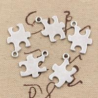 Wholesale Making Jigsaw Puzzles - Wholesale- 99Cents 12pcs Charms jigsaw puzzle 20*14mm Antique Making pendant fit,Vintage Tibetan Silver,DIY bracelet necklace
