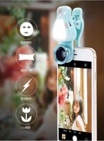 Wholesale angle photography - Selfie Light LED Fill Light with Wide angle & macro lens Camera Photography For Samsung Galaxy iPhone 7 6 6s and all Smart Phones