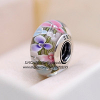 Wholesale Colorful Beads Fit Pandora - S925 Sterling Silver fashion jewelry Colorful flowers Murano Glass charms Beads Fit European pandora DIY Bracelets Necklace 221