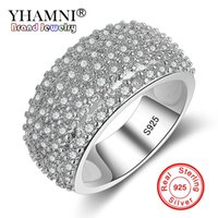 YHAMNI Jóias Originais Garantidas Pure 925 Silver Ring Full CZ Diamond Band Wedding Luxury Rings para Mulheres Gift KER234