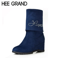 Vente en gros HEE GRAND Sexy Mid-Veau Bottes Femmes Automne Hiver Chaussures Bottes Rhinestone Slip On Wedges Hauteur Augmentant Chaussures Femme XWX1779