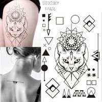 Wholesale Tattoo Legs Cat - W17 Geometric Cat Temporary Tattoo with Square, Round Circle, Triangle Geometry Pattern body Art Tattoos